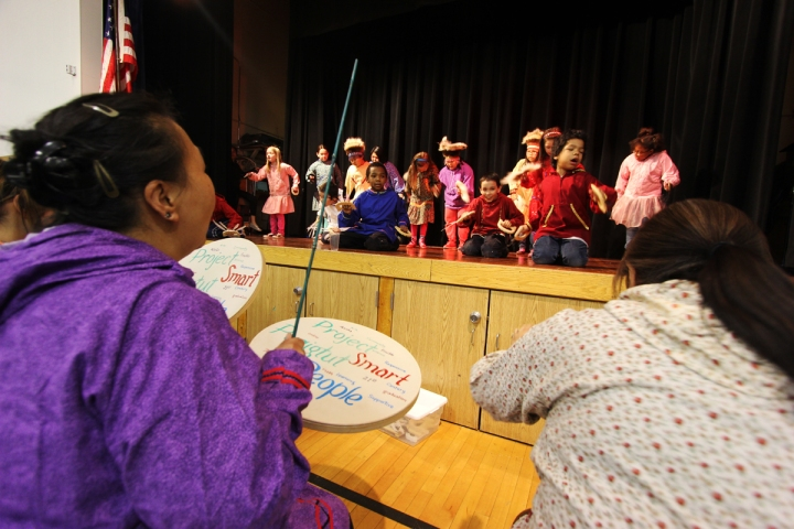 More than 100 students and family members crowded the auditorium at Mountain View Elementary School for a multicultural night event in April.