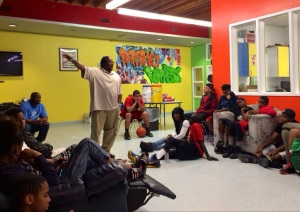 Ben Briggs speaks to teens at the Mountain View Boys & Girls Club, June 27.