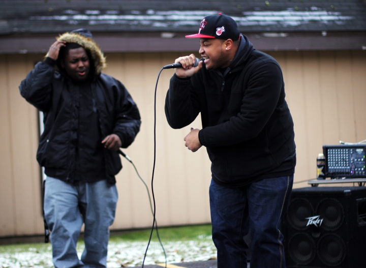 Andre Williams and Anthony Russell rap outside Leake Temple Nov. 1.