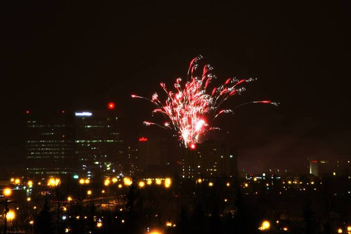 Fireworks over downtown Anchorage New Year's Eve, as seen from Tyson Elementary School.