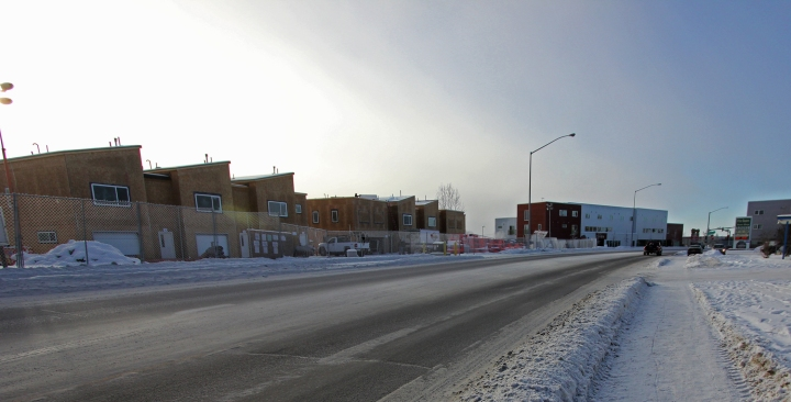 New housing developments across the street from Price Busters Pawn Shop.