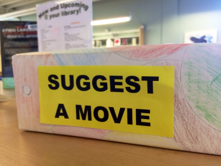 Have an idea? The library is collecting suggestions for new movies. So far, the branch manager says Korean and Chinese titles have been the most popular.