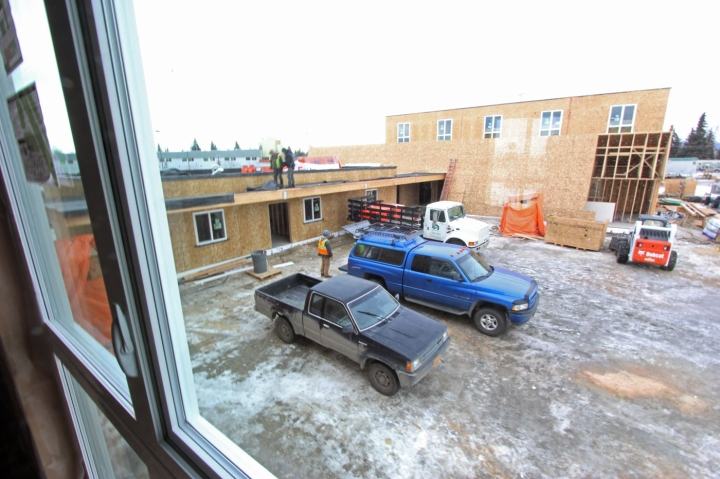 Work at Ridgeline Terrace in February 2015.