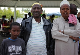 Ali H., Ismail Hussein and Ahmed Abdi Awol at a World Refugee Day event at Mountain View Lions Park, June 19.