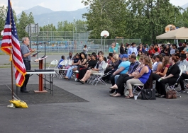 Anchorage Municipal Ombudsman Darrel Hess at a World Refugee Day event at a Mountain View Lions Park, June 19.