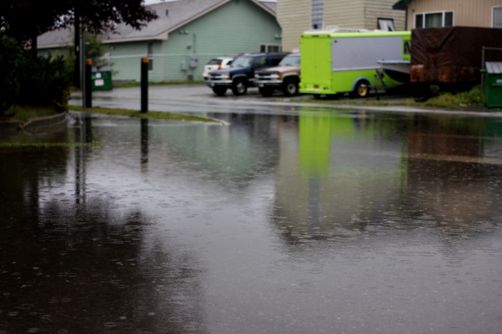 A flooded intersection in front of the Mountain View Boys & Girls Club.