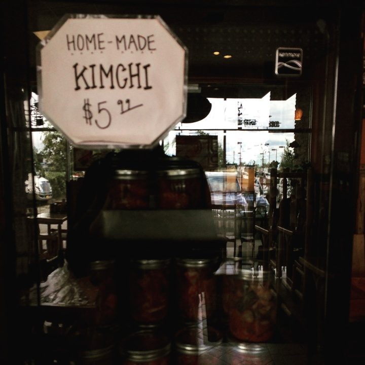 Homemade kimchi for sale at Tempura Express.
