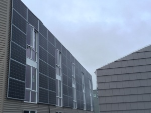 Solar panels at Mountain View's Ridgeline Terrace housing development