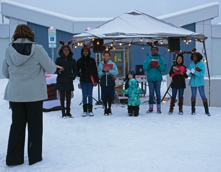 Members of the New Hope Baptist Church Children's Choir, directed by Karla Hicks, perform at the Mountain View Winter Festival on Dec. 16, 2018.